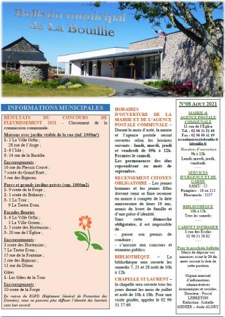 Bulletin d'août 2021