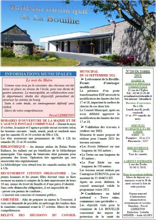 Bulletin d'octobre 2021